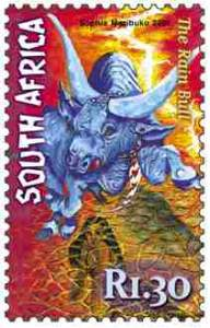 Legend of the Rainbull, featured on a South African stamp